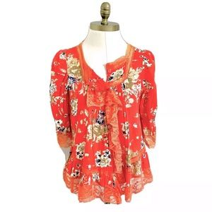 Vintage Red Floral Lace Trim SS Babydoll Blouse S
